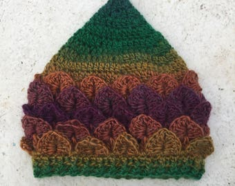 Newborn pixie/crocodile stitch crocheted hat
