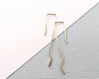 Geometric Boho Luxe Rustic Elegance Hammered Zig Zag Wire Earrings