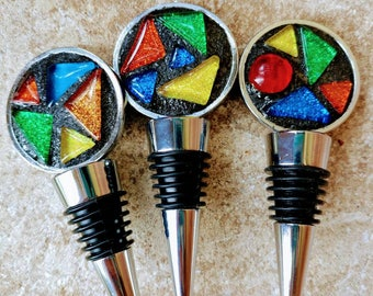 Pop Art Mosaic wine bottle stopper