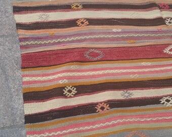 """Handmade kilim rug240x160cm 95""""x62"""",Turkish kilim rug,Anatolian kilim rug,vintage kilim rug,tribal kilim rug, Handmade kilim rug"""