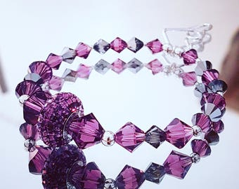 Crystal bracelet Swarovski BeCharmed and Amethyst bicones and pearls with silver hearts