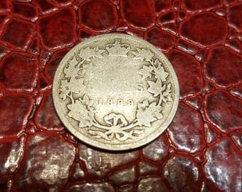 1899 Canadian 25 Cents Silver Coin - Queen Victoria -