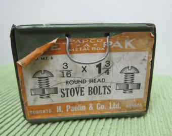 Vintage, H Paulin & Co Ltd, Tapco Metal Box, Met-A-Pak Stove Bolts Bin - Empty Hardward Store Display/Storage Box - Please see Description