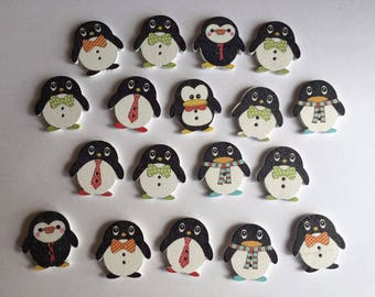 25 x Wooden Penguin Buttons ~ Cardmaking Scrapbooking Embellishment Animals