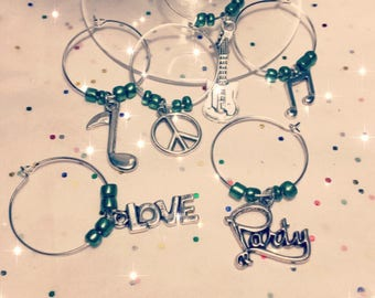 Peace Love and Rock and Roll Wine Glass Charms