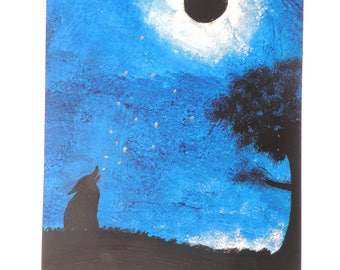 painting, acrylic painting, wolf drawing howling at the Moon, gift idea, 33x48, acrylic