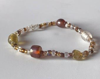Glass bead bracelet, brown, amber clear, fashion bracelet stretchy