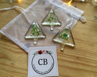 3 Fused Glass Christmas Green Confetti Trees decorations