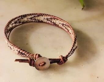 Purple & Gray ZigZag 1Wrap Bracelet