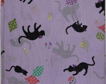 Japanese Cotton Fabric 50cm / Handkerchief - Purple with Black Cats