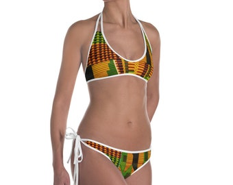 Kente pattern swimwear summer bikini