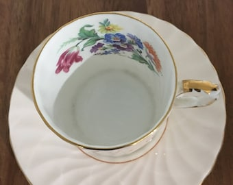Aynsley Demitasse Cup and Saucer Peach Swirl Floral Center C545