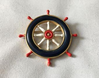 Vintage Sailer Boat Ship Wheel Pin Brooch