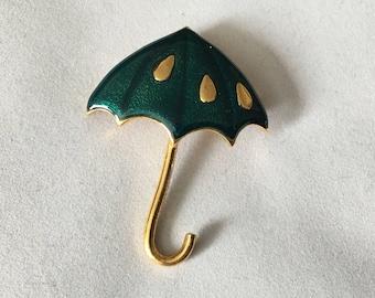 Vintage Green Umbrella Pin Brooch 2.25 Inches Tall