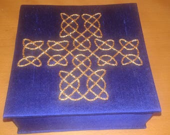 Celtic cross goldwork embroidery box