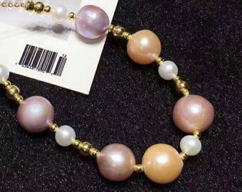 Baroque Pearl Mixed With Freshwater Pearl Bracelet in 14K Gold Filled Beads & Chain Adjustable Bracelet, Beautiful Edison Pearls Bracelet
