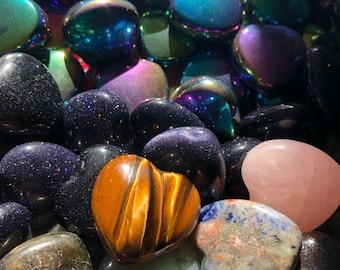 Genuine gemstone random hearts