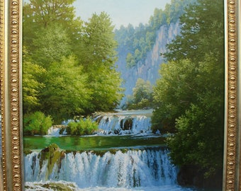"Painting, ""Waterfalls In The Forest"". Canvas, oil paints."