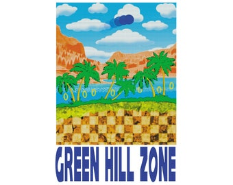 """Green Hill Zone 13"""" x 19"""" Travel Poster"""