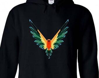 Youth Hoodie Logan Paul Maverick Black Unisex Hooded Sweatshirt Colorful Bird Symbol