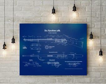 Mauser K98 German Rifle Patent Print  - WW2, Wall Art Decor, WWII army, militaria, gun patent art, blueprint, karabiner, kar98 poster, guns