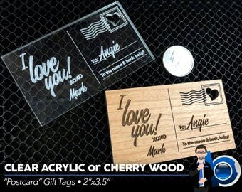 "Small Postcard-Style Gift Tags (3.5""x2""), Engraved Wooden Gift Tags, Engraved Clear Acrylic Gift Tags"