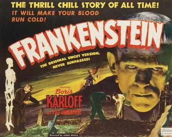 Frankenstein (1931) movie poster 11 x 17 Boris Karloff Colin Clive Mae Clarke James Whale Universal Monsters Edward Van Sloan Dwight Frye
