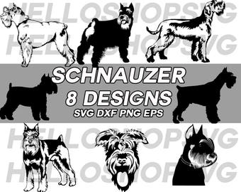 schnauzer svg, dog svg, pets svg, puppy svg, clipart, decal, stencil, vinyl, animal lover, cut file, iron on, silhouette, dxf, png, eps