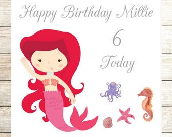 Ariel Little Mermaid Inspired Birthday Card, Personalised Birthday Card, Daughter Card, Disney Princess, Granddaughter Card, 3rd, 4th, 5th