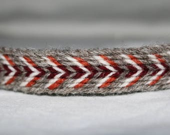 Handmade Grey-White-Red Tablet Woven Viking Trim/Band (100% Pure Wool) 1-4 m Length, Without Tassels