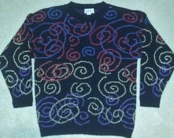 Vintage 80s 90s Sparkly Swirls Curly Q Sweater