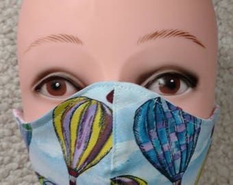 Hot Air Balloon Mask Handmade Flannel lined Cotton Medical Surgical Winter Washable