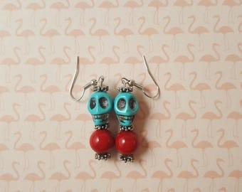 Teal Skull Earrings