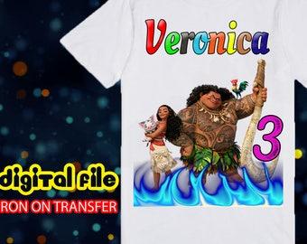 Moana Iron On Transfer, Iron On Transfer Moana Birthday Shirt, Moana Birthday Girl Iron On Transfer, Personalize