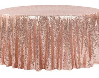 "SALE 132"" Blush Sequin Round Tablecloth Rose Gold Table Cloth Dinner Cake Sweet Heart Wedding Sparkly Glittery Blush Wholesale Sale Fast"