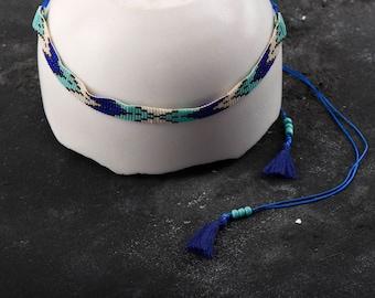 Handmade Miyuki Stone Blue Navy Thin Bead Necklace