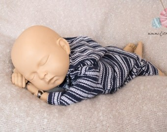 Newborn Hoodie Romper, Newborn Hooded Romper, Blue and White Stripe Hoodie, Romper with hood, Baby Boy Photo Prop, Newborn Photography Prop