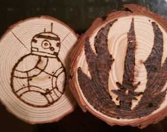 Star Wars, wooden coasters, wood art , barware, coffee table, BB-8, Jedi, Rebels