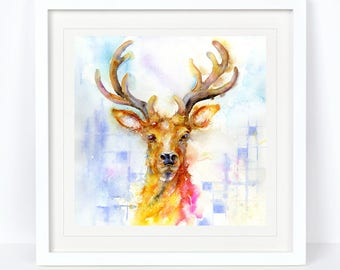 The Stag - Stag Print, Deer Print. Printed from an Original Sheila Gill Watercolour. Fine Art, Giclee Print, Hand Painted, Home Decor