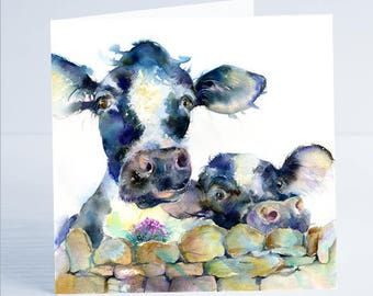 A Moo or Two - Greeting Card - Taken from an original painting by Sheila Gill