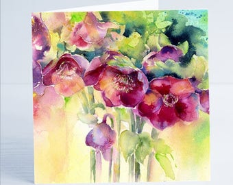 Purple Hellebores Flower Greeting Card by Sheila Gill