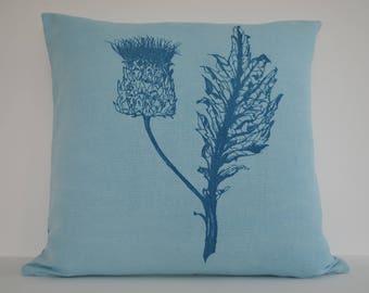 Pale Aqua Blue Cushion, Linen, Botanical Image