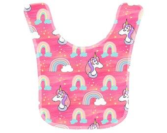 Beautiful Baby Bib - Cute pink and purple rainbow unicorns - Dribble Bib - Newborn Gift - Baby Shower Gift