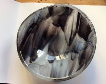 Black and white fused glass bowl