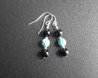 Sterling Silver Turquoise and Onyx Earrings