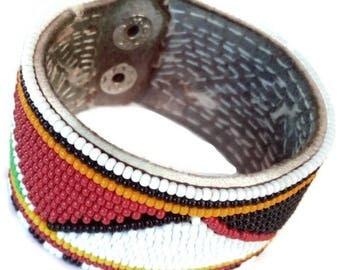 Maasai Colourful Beaded Bracelet- Beaded Leather