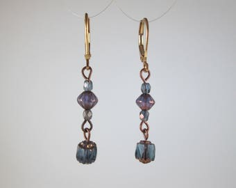 """Glass Beads """"Cathedral"""" Earrings on Gold"""
