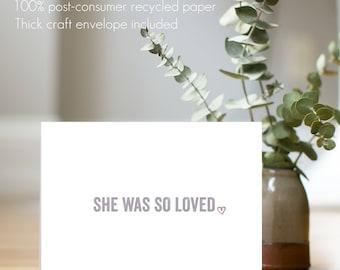 "Flat Card ""She/He Was So Loved"" - dog bereavement card, dog loss, modern sympathy card, pet loss"