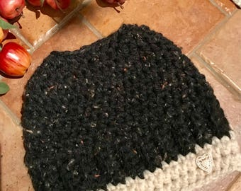 Chunky Crochet Messy Bun / Ponytail Beanie