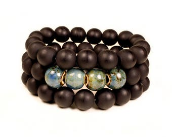 Men's Matte Black and Blue Ceramic Beaded Stretchable Bracelet Stack